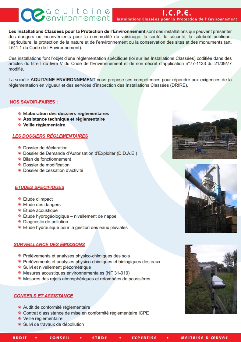 AQUITAINE AE ENVIRONNEMENT ACTIVITE ICPE INSTALLATIONS CLASSEES PROTECTION DOSSIERS RISQUE